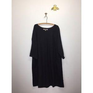 Flax black linen midi dress long sleeve pockets M